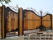 Кованый забор,  ворота,  лестница,  козырек,  решетка,  перила,  наве